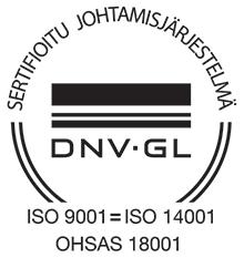 Sertifioitu johtamisjärjestelmä - DVN GL - ISO 9001 = ISO 14001, OHSAS 18001